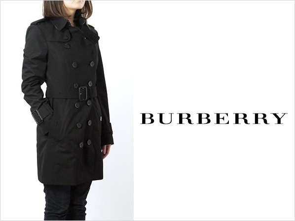 BURBERRY / Burberry women's trench coat black QUEENSBURY 12 3862258 VZ 00100 BLACK BURBERRY LONDON size: 12