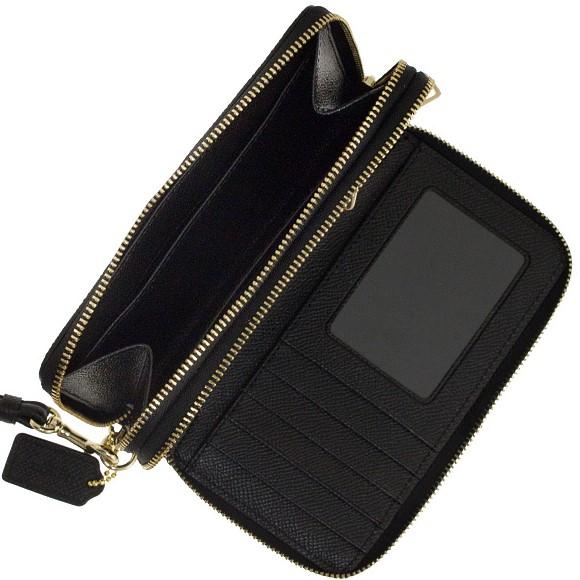 코치 COACH 지갑 레이디스 라운드 패스너 지갑 블랙 CRI LTH DB ZP PH WAL 63112 LI BLACK