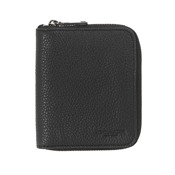 79d729618919 Coach COACH wallet men round fastener folio wallet black black SMALL ZIP  AROUND IN PEBBLE LEATHER 25412 BLK BLACK