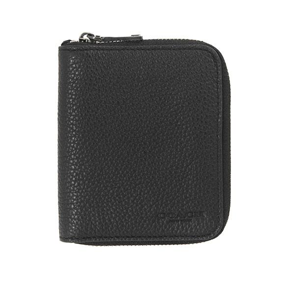 コーチ COACH 財布 メンズ ラウンドファスナー二つ折り財布 ブラック 黒 SMALL ZIP AROUND IN PEBBLE LEATHER 25412 BLK BLACK