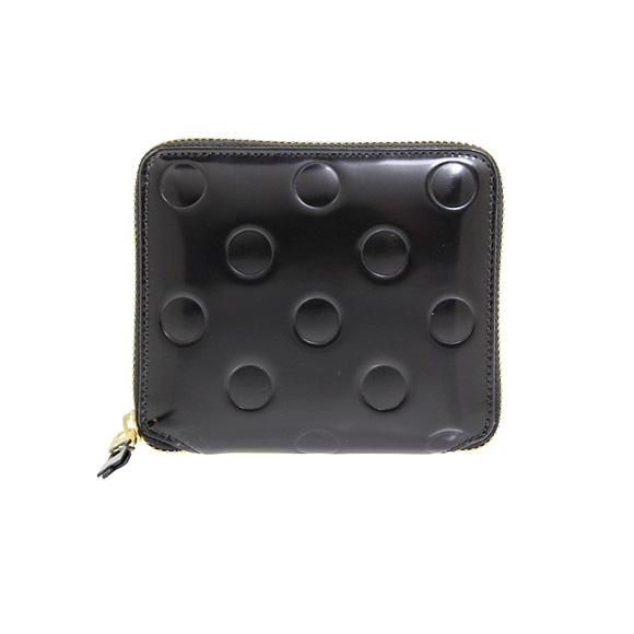 コムデギャルソン COMME DES GARCONS 財布 ラウンドファスナー二つ折り財布 ブラック 黒 POLKA DOTS EMBOSSED SA2100NE BLACK