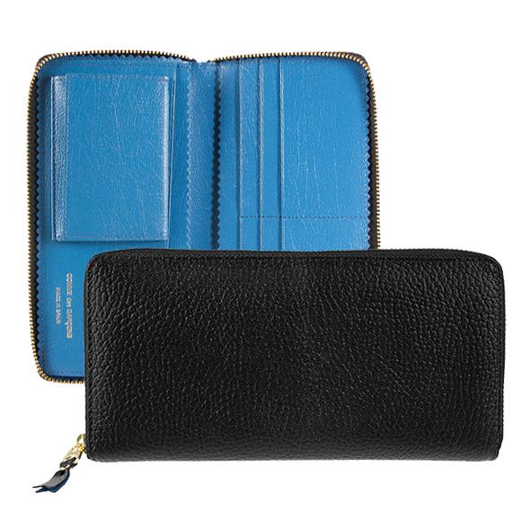 コムデギャルソン COMME DES GARCONS 財布 ラウンドファスナー長財布 ブラック 黒 COLOUR INSIDE SA0110IC BLACK/ BLUE