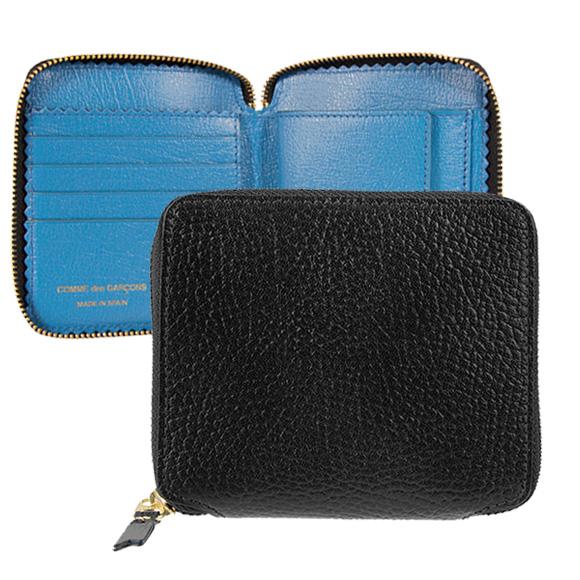 コムデギャルソン COMME DES GARCONS 財布 ラウンドファスナー二つ折り財布 ブラック 黒 COLOUR INSIDE SA2100IC BLACK/ BLUE【母の日】