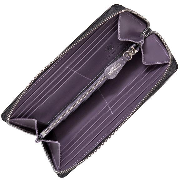 Ettinger goods cloth mens zip around wallet with loose change into black / purple LARGE ZIP AROUND PURSE 2051JR PURPLE ETTINGER eh! I! エッティンガ-