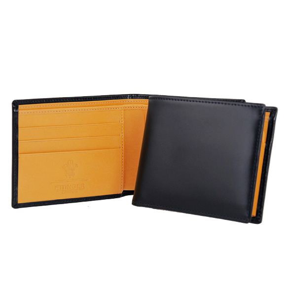3 ETTINGER/ Ettinger folio wallet (with a coin purse) navy BILLFOLD WITH C/C & COIN PURSE BRIDLE HIDE COLLECTION BH141JR NAVY ETTINGER えってぃんがー