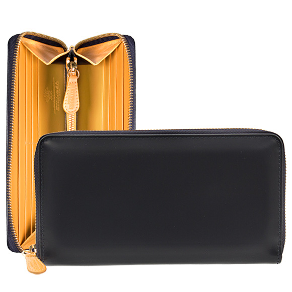 Ettinger ETTINGER wallet round zip long wallet (with a coin purse) navy brei dollar leather LARGE ZIP-AROUND PURSE BH2051EJR NAVY