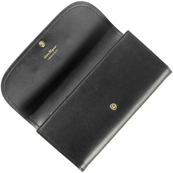 Salvatore Ferragamo SALVATORE FERRAGAMO Lady's long wallet black 2Y01536 22C690 VIT. CEYLON NERO