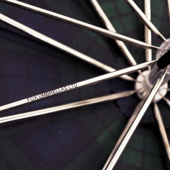 フォックスアンブレラズ umbrella BROWN MAPLE WOOD STRAIGHT HANDLE 10RIB TELESCOPIC luxury folding umbrella green check TEL2 BLACK WATCH FOX UMBRELLAS