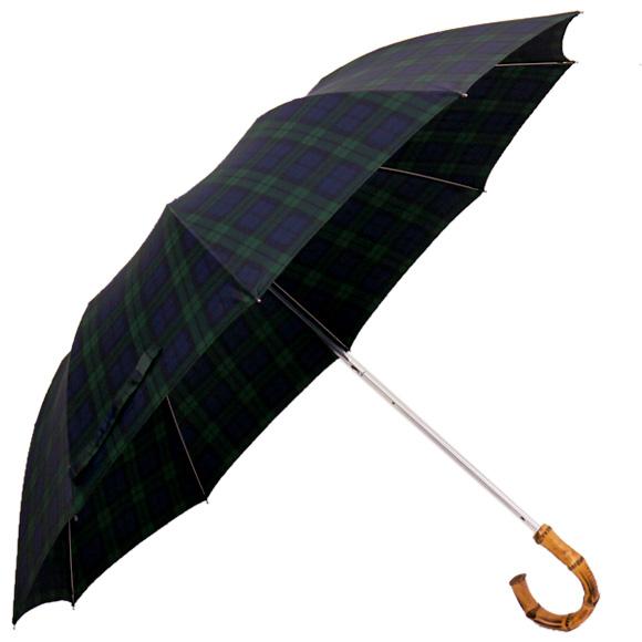 フォックスアンブレラズ FOX UMBRELLAS 傘 TEL4 折りたたみ傘 ブラックウォッチ (ワンギーハンドル) WHANGHEE CROOK HANDLE BLACK WATCH TARTAN 【英国】【レイングッズ】