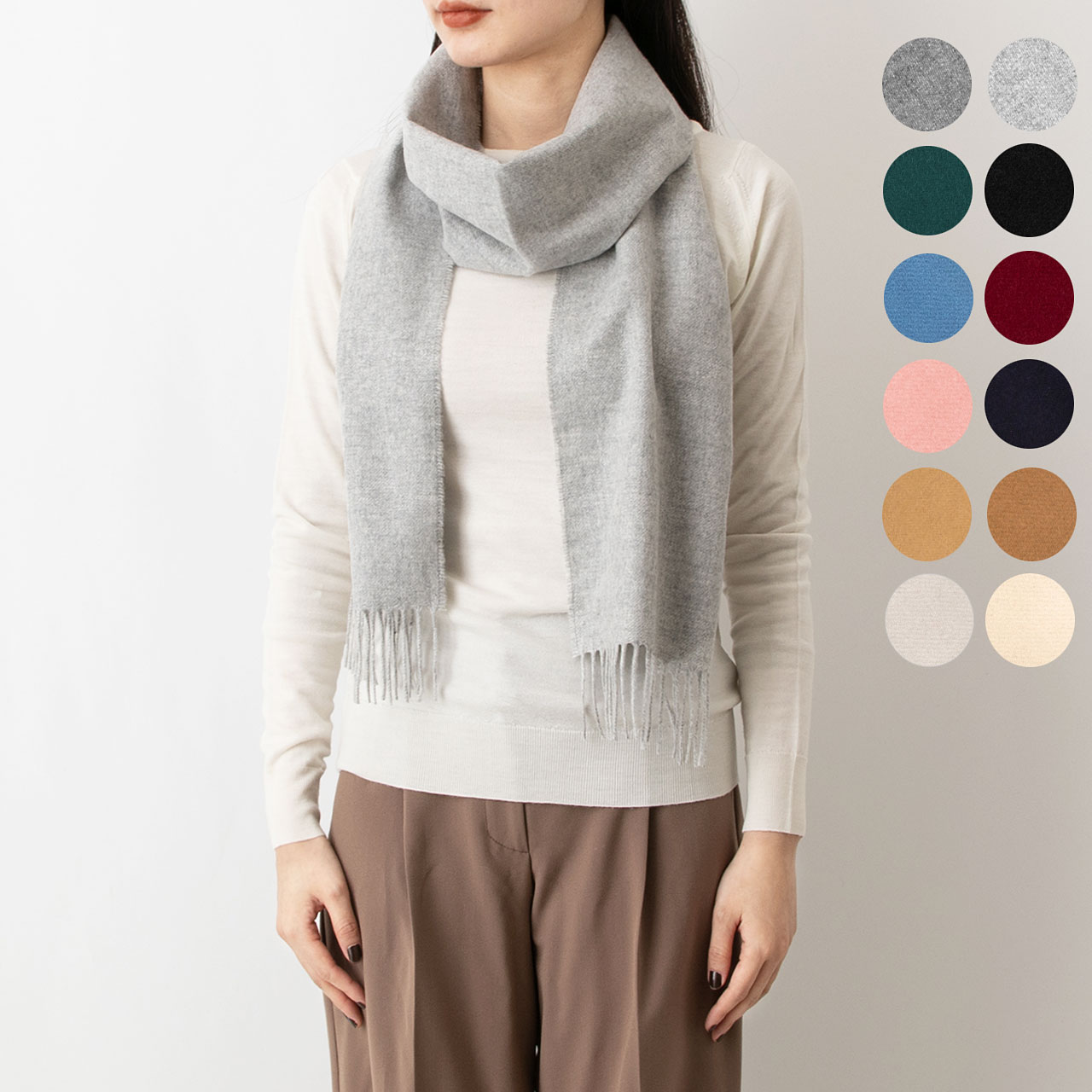 Johnstons And Of Elgin Cashmere Scarf Plains Wa000016 10 Colors