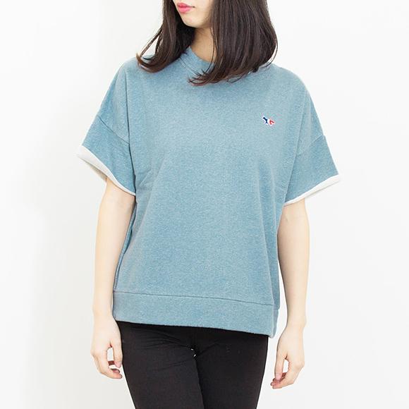 mezonkitsune MAISON KITSUNE女士短袖运动衫蓝色JAPANESE SWEAT SHIRT SHORT SLEEVES W730[全2色]