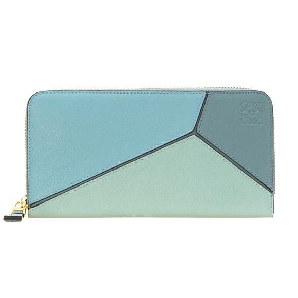 puzzle Zip Around Wallet in Aqua, Light Blue and Stone Blue Calfskin Loewe
