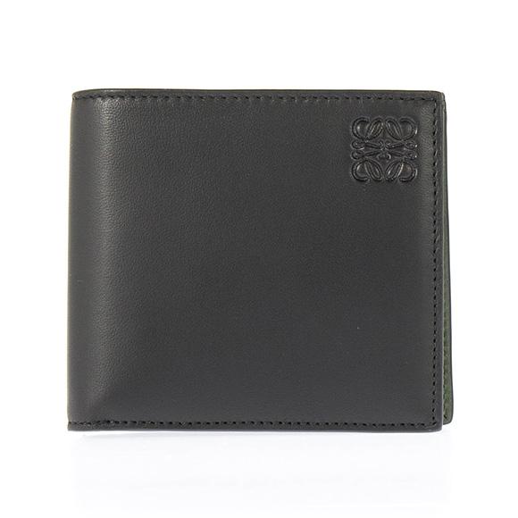 ロエベ LOEWE 財布 メンズ 二つ折り財布(小銭入れ付) NAPPA BIFOLD/COIN WALLET ナッパ ブラック/カーキグリーン 109 80 501 1217 BLACK/KAKHI GREEN