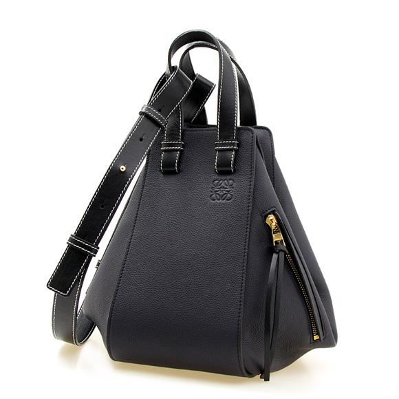 ロエベ LOEWE バッグ レディース 2WAYハンド/ショルダーバッグ ブラック 黒 HAMMOCK SMALL BAG 38712KBN60 5605 MIDNIGHT BLUE/BLACK