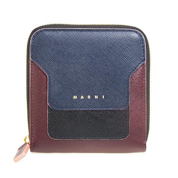 マルニ MARNI 財布 レディース ラウンドファスナー二つ折り財布 ネイビー×ダークパープル×ブラック VANITOSI PFMOQ09U11 LV520 Z243C NAVY×DARK紫の×黒