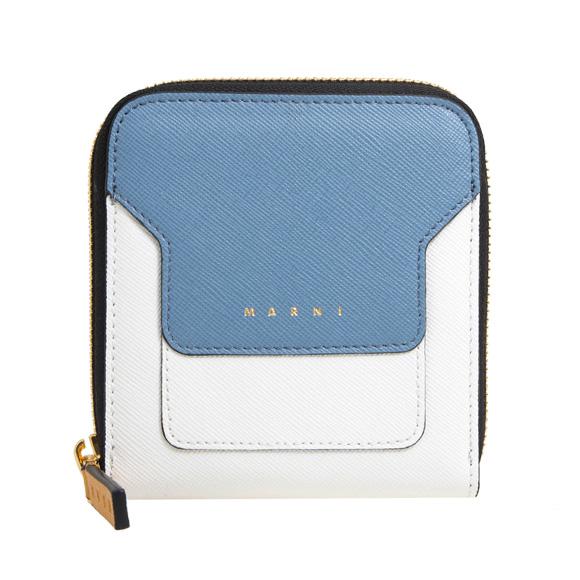 マルニ MARNI 財布 レディース ラウンドファスナー二つ折り財布 オパールブルー×ライムストーンホワイト PFMOQ09U08 LV520 Z255N OPAL/LIME STO