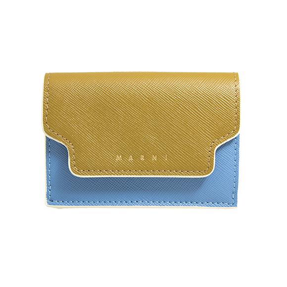 マルニ MARNI 財布 レディース 三つ折り財布 タイムカーキ×オパールブルー/オリーブグリーン PFMOW02U09 LV520 Z274I THYME+OPAL+OLIVE GREEN【ミニ財布】