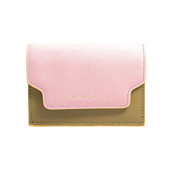 マルニ MARNI 財布 レディース 三つ折り財布 シンダーローズ×タイムカーキ/ペトローリアムグリーン PFMOW02U09 LV520 Z272Y CINDER ROSE+THYME+PETROLEUM