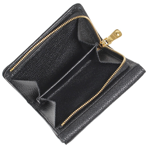 Miu Miu MIU MIU wallet ladies two bi-fold wallet black PORTAFOGLIO LAMPO MADRAS MULTICOL 5ML002 2EW8 F0002 NERO