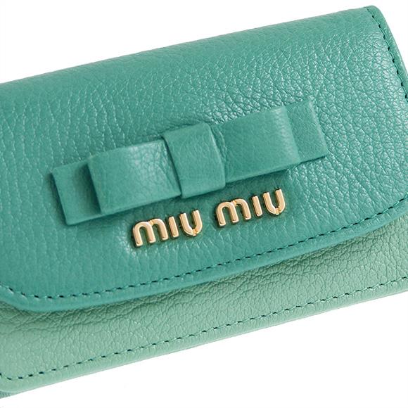 Miu Miu MIU MIU Womens business card holder (card holders) Madras jade green / Aqua green PORTACARTE DI CRED MADRAS BICOLORE 5MC122 2E8R F0PE9 GIADA + ACQUA
