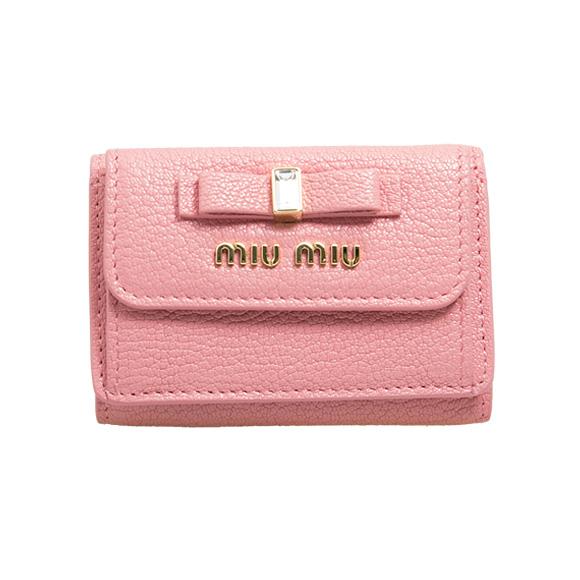 ミュウミュウ MIU MIU 財布 レディース 三つ折り財布 ローザピンク MADRAS FIOCCO WALLET CONTINENTAL 5MH021 2D7A F0028 ROSA
