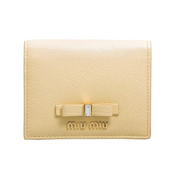 ミュウミュウ MIU MIU 財布 レディース 二つ折り財布 クリーム MADRAS FIOCCO WALLET CONTINENTAL 5MV204 2D7A F0061 CREMA