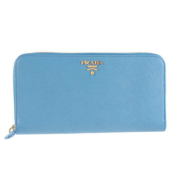 Prada PRADA Lady's round fastener long wallet blue PORTAFOGLIO LAMPO 1ML506 QWA F0P9S MARE