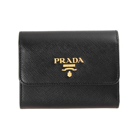 プラダ PRADA 財布 レディース 三つ折り財布 ブラック 黒 PORTAFOGLIO PATTINA 1MH840 QWA F0002 NERO