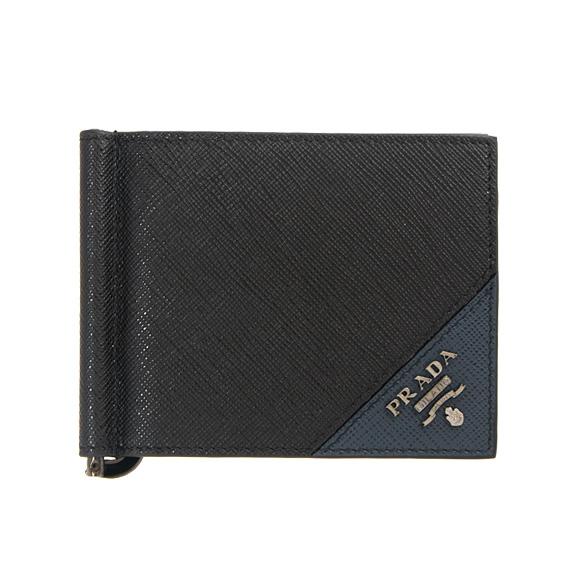 プラダ PRADA 財布 メンズ 二つ折り財布(マネークリップ) ブラック/バルティックブルー PORTAF.A MOLLA 2MN077 QME F0G52 NERO+BALTICO
