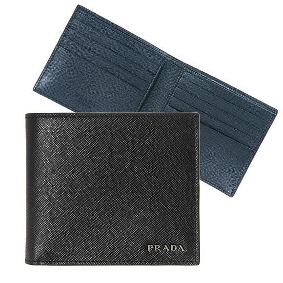 プラダ PRADA 財布 メンズ 二つ折り財布 ブラック/バルティックブルー PORTAF. ORIZZONTALE 2MO513 C5S F0G52 NERO+BALTICO