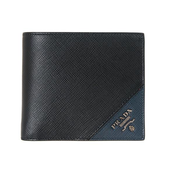 プラダ PRADA 財布 メンズ 二つ折り財布(小銭入れ付) ブラック/バルティックブルー PORTAF. ORIZZONTALE 2MO738 QME F0G52 NERO+BALTICO