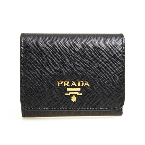 プラダ PRADA 財布 レディース 三つ折り財布 ブラック SAFFIANO METAL ORO PORTAFOGLIO PATTINA 1MH176 QWA F0002 NERO