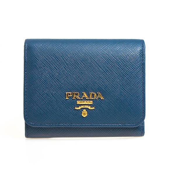プラダ PRADA 財布 レディース 三つ折り財布 ブルー SAFFIANO METAL ORO PORTAFOGLIO PATTINA 1MH176 QWA F0016 BLUETTE