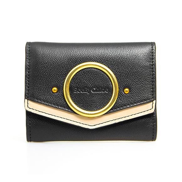 シーバイクロエ SEE BY CHLOE 財布 レディース 三つ折り財布 ブラック×セメントベージュ AURA COMPACT WALLET CHS20SP889 687 001 BLACK