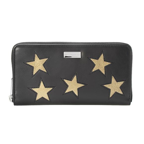 ステラマッカートニー STELLA McCARTNEY 財布 レディース ラウンドファスナー長財布 ブラック 黒 BRONZE STARS ZIPPED AROUND WALLET 431020 W8211 1000 BLACK 【英国】
