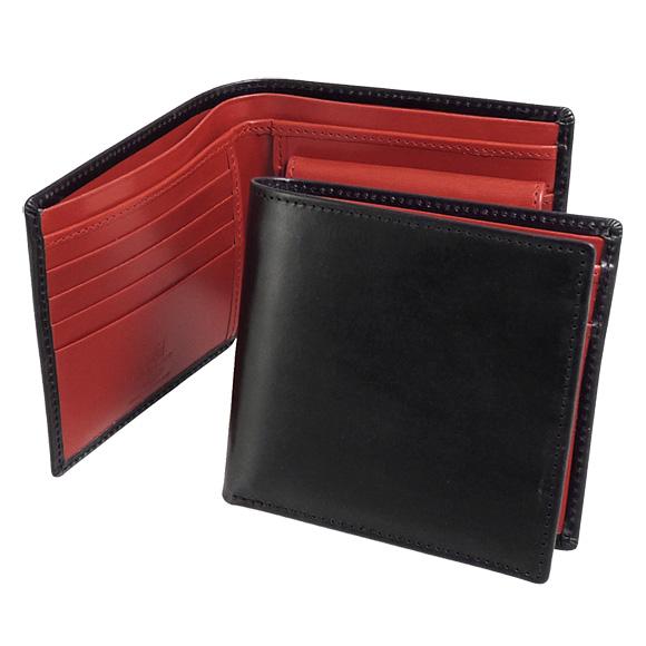 ホワイトハウスコックス WHITEHOUSE COX 財布 メンズ 二つ折り財布(小銭入れ付) ブラック/レッド COIN WALLET BRIDLE 2TONE S7532 BLACK/RED【英国】
