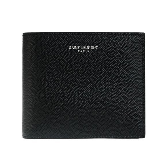 サンローランパリ SAINT LAURENT PARIS 財布 メンズ 二つ折り財布 ブラック 黒 EAST WALLET COIN PURSE SAINT LAURENT GRAIN POUDRE 396303 BTY0N 1000 BLACK