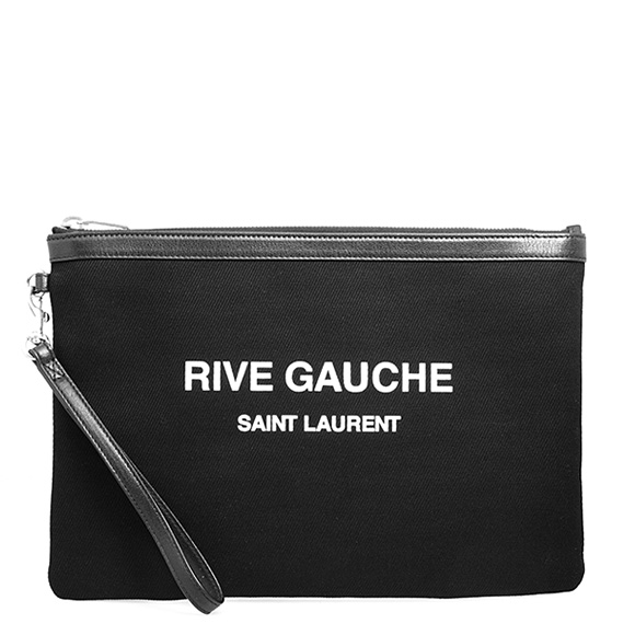 サンローラン パリ SAINT LAURENT PARIS ポーチ ブラック RIVE GAUCHE ZIPPED POUCH [リヴ・ゴーシュ] 565722 96NAE 1070 BLACK/WHITE/BLACK