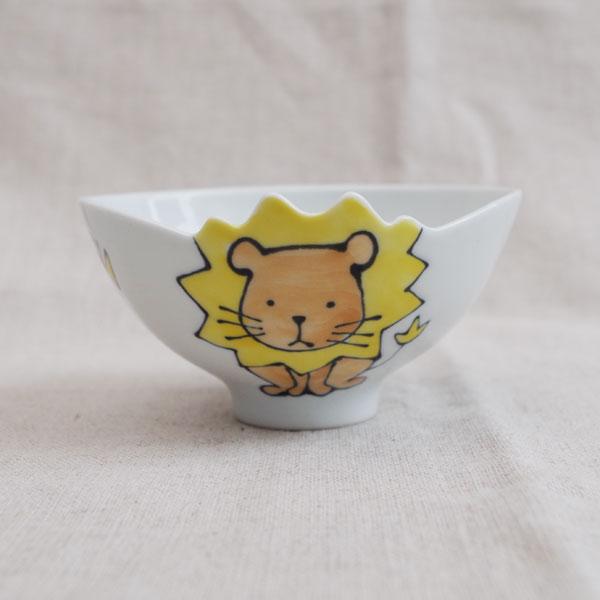 ライオン柄の子ども用お茶碗です お茶碗の形も凝っていて食事が楽しくなりそうです 有田焼 ライオン 保障 茶碗 子供用 新入荷 流行
