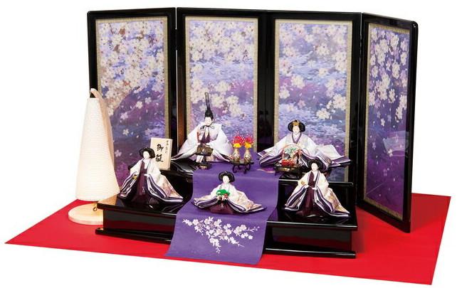 雛人形 田村芙紗彦 五人飾り 桜満開 ひな人形 303784