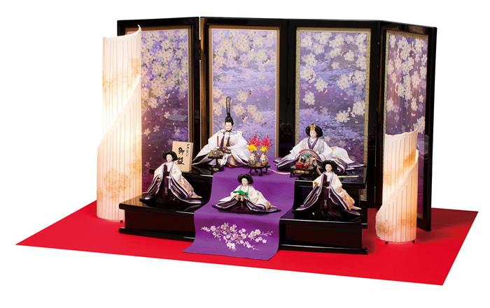 雛人形 平安豊久 五人飾り 桜満開 ひな人形 303829