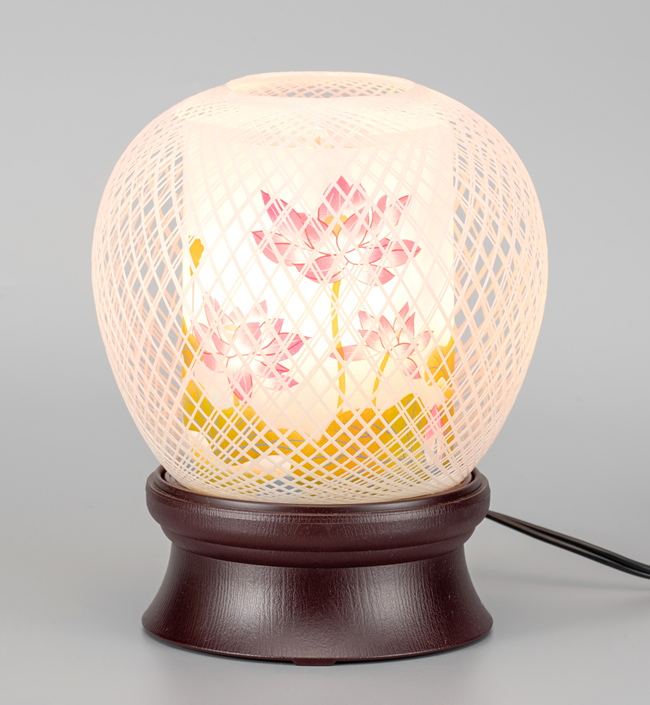 盆提灯 和の灯り 花まゆ 1号 蓮華 回転
