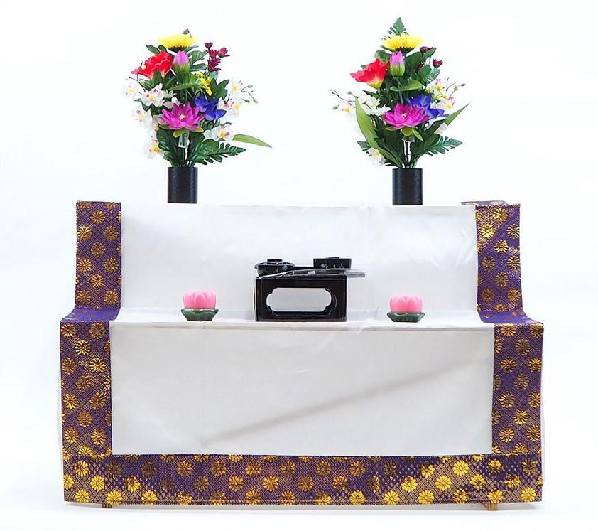 お盆用品の全てが揃ったセットです。 新盆 祭壇セット 木製 二段C お盆セット・盆棚セット・精霊棚