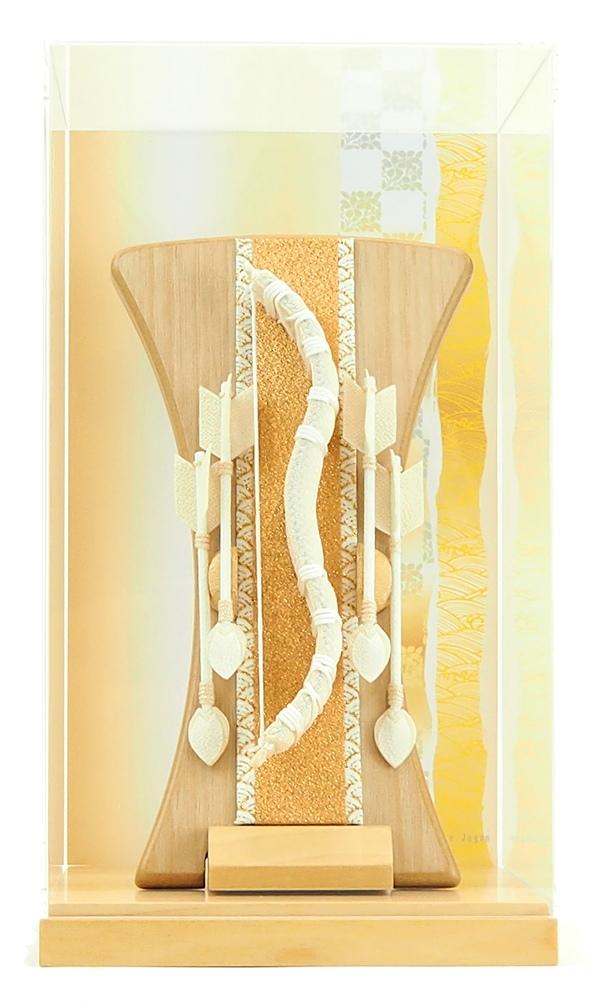 正月飾り 破魔弓 立掛けシリーズ 白紐 クリアケース入り バーチ台付き 帯柄
