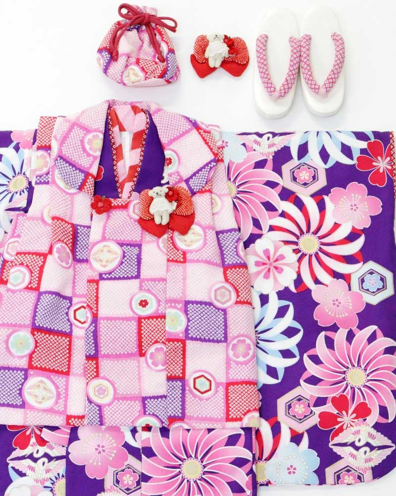 Fashion the Sale 限定 20%オフUSED販売 七五三 3歳 女の子 被布セット JAPAN STYLE 3才 女児被布7点セット 着物・被布・被布飾り・髪飾り・襦袢・バッグ・草履c4ARL5qj3S