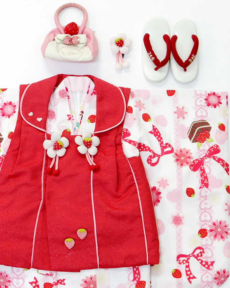 【USED販売】SHY KIDS☆3才 女児被布7点セット(着物・被布・被布飾り・襦袢・髪飾り・バッグ・草履)