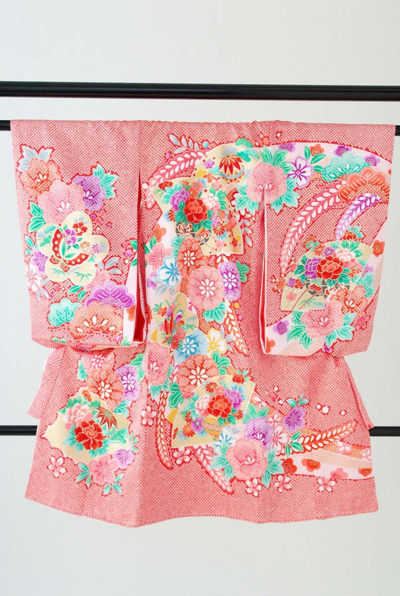 〔祝着 女の子 フルセット〕ピンク絞り風かのこ柄花蝶扇〔レンタル 5点セット〕〔貸衣装〕〔宮参り着物〕〔女児0歳 初着〕※システム上既にご予約済みのお日にちを選んでも買い物かごに入ります。必ず予約状況をご確認ください【smtb-k】