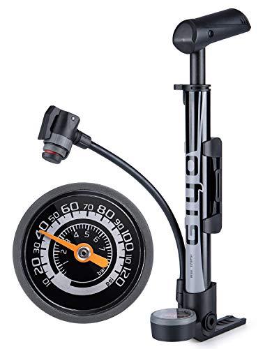 GIYO 自転車 空気入れ 国際ブランド 携帯ポンプ 仏式 英式 米式バルブ対応 大型ゲージ付き 120psi ロードバイク 携帯用 クロスバイク ミニフロアポンプ ママチャリ MTB用 軽量 予約販売品 GM-642