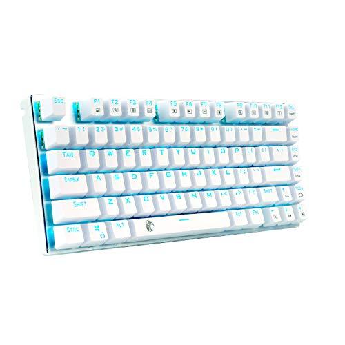 e元素ゲーミングキーボード 贈呈 メカニカル式キーボード USB接続有線青軸81キーアンチゴーストキー 防水機能付きゲーマー向け英語配列キーボード 青色LEDバックライト アウトレット ホワイト