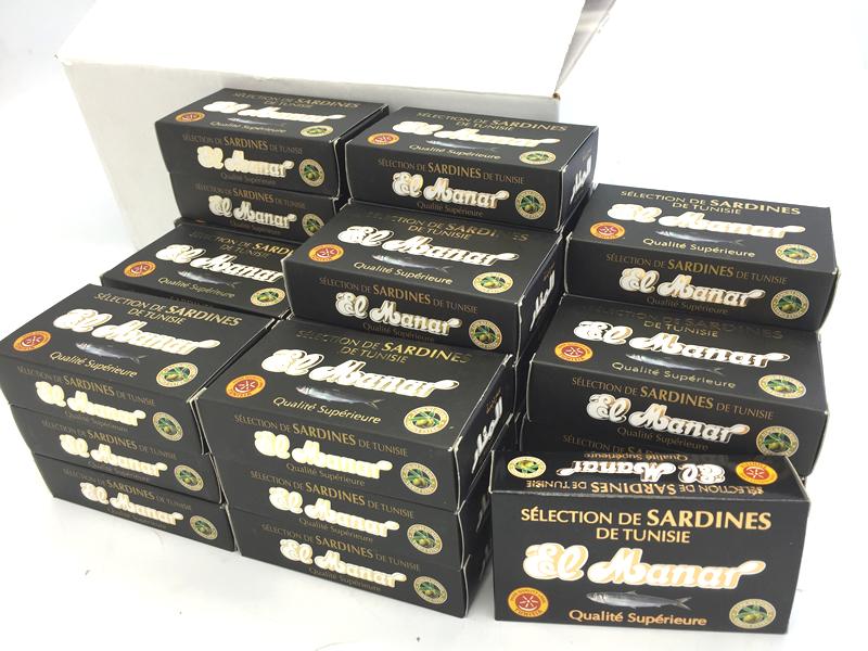 チュニジア産 エクストラ バージン オリーブオイルサーディン 缶詰(紙箱入り)1ケース(50缶入)(いわしのエクストラ バージンオリーブオイル漬)Oil Sardine in Extra Virgin Olive Oil 125g x 50pcs (El Manar, Tunisia)